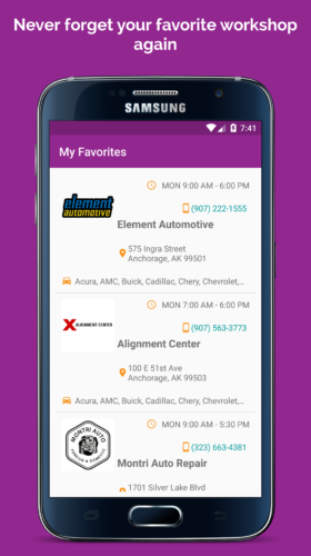 Easily add auto mechanic to your favorites